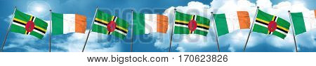 Dominica flag with Ireland flag, 3D rendering