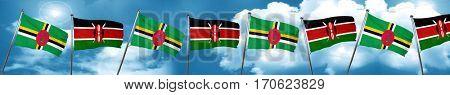 Dominica flag with Kenya flag, 3D rendering
