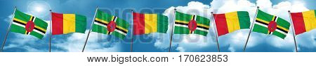 Dominica flag with Guinea flag, 3D rendering
