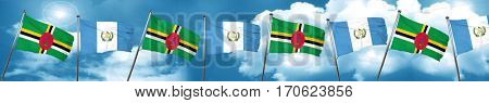Dominica flag with Guatemala flag, 3D rendering