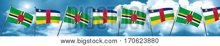 Dominica flag with Central African Republic flag, 3D rendering