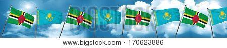 Dominica flag with Kazakhstan flag, 3D rendering