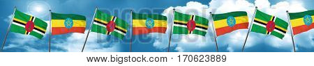 Dominica flag with Ethiopia flag, 3D rendering