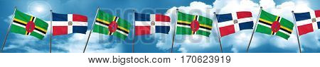 Dominica flag with Dominican Republic flag, 3D rendering