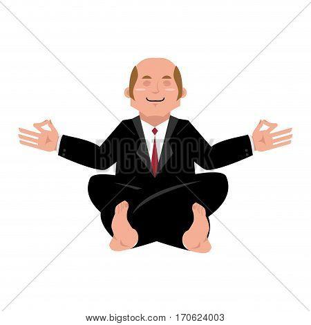 Business Yoga. Businessman Meditating Isolated. Yogi Boss. Office Zen And Relaxation