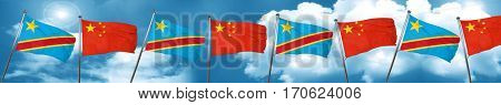 Democratic republic of the congo flag with China flag, 3D render