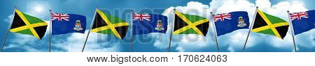 Jamaica flag with Cayman islands flag, 3D rendering