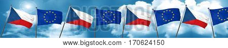 czechoslovakia flag with european union flag, 3D rendering