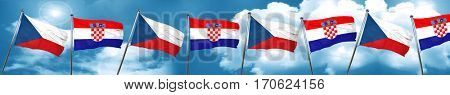 czechoslovakia flag with Croatia flag, 3D rendering