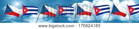 czechoslovakia flag with cuba flag, 3D rendering