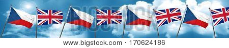 czechoslovakia flag with Great Britain flag, 3D rendering