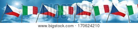 czechoslovakia flag with Italy flag, 3D rendering