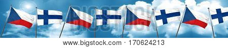 czechoslovakia flag with Finland flag, 3D rendering