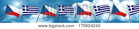 czechoslovakia flag with Greece flag, 3D rendering