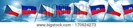 czechoslovakia flag with Haiti flag, 3D rendering