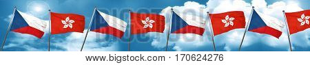 czechoslovakia flag with Hong Kong flag, 3D rendering