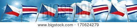 czechoslovakia flag with Costa Rica flag, 3D rendering
