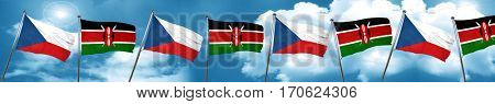 czechoslovakia flag with Kenya flag, 3D rendering