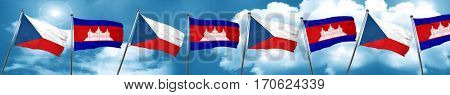 czechoslovakia flag with Cambodia flag, 3D rendering