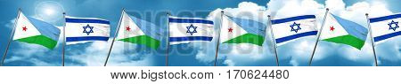 Djibouti flag with Israel flag, 3D rendering
