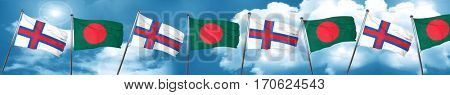 faroe islands flag with Bangladesh flag, 3D rendering