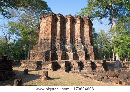 Ruins of the ancient Buddhist temple Wat Avasa Yai. Kamphaeng Phet. Thailand