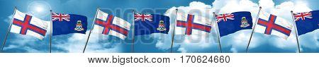 faroe islands flag with Cayman islands flag, 3D rendering
