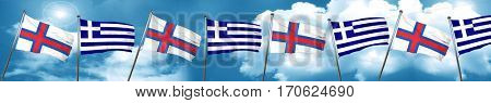 faroe islands flag with Greece flag, 3D rendering
