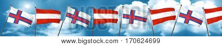 faroe islands flag with Austria flag, 3D rendering