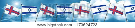 faroe islands flag with Israel flag, 3D rendering