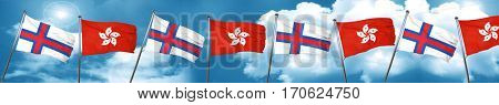 faroe islands flag with Hong Kong flag, 3D rendering