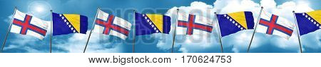 faroe islands flag with Bosnia and Herzegovina flag, 3D renderin