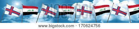 faroe islands flag with Iraq flag, 3D rendering