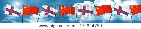 faroe islands flag with China flag, 3D rendering