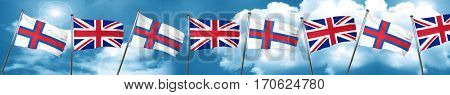 faroe islands flag with Great Britain flag, 3D rendering