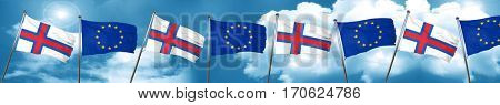 faroe islands flag with european union flag, 3D rendering