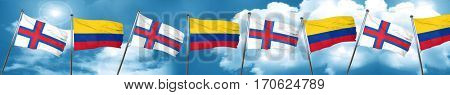 faroe islands flag with Colombia flag, 3D rendering
