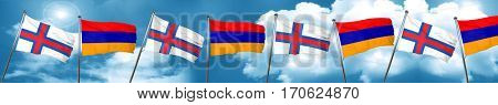faroe islands flag with Armenia flag, 3D rendering