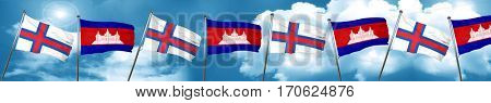 faroe islands flag with Cambodia flag, 3D rendering
