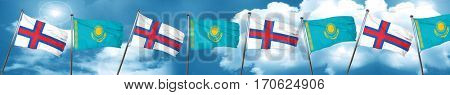 faroe islands flag with Kazakhstan flag, 3D rendering