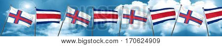 faroe islands flag with Costa Rica flag, 3D rendering