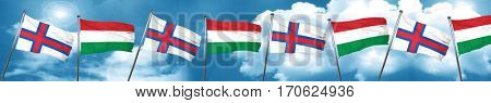 faroe islands flag with Hungary flag, 3D rendering