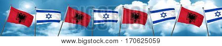 Albania flag with Israel flag, 3D rendering