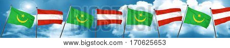 Mauritania flag with Austria flag, 3D rendering