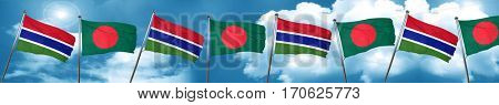 Gambia flag with Bangladesh flag, 3D rendering