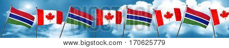 Gambia flag with Canada flag, 3D rendering