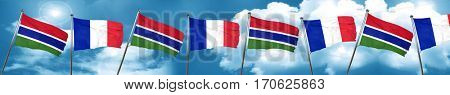Gambia flag with France flag, 3D rendering