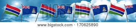 Gambia flag with Cayman islands flag, 3D rendering