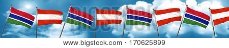 Gambia flag with Austria flag, 3D rendering