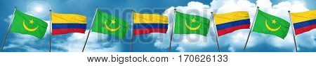 Mauritania flag with Colombia flag, 3D rendering